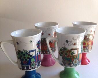 "Vintage Arnart ""Smug Mug"" Chattanoga Choo Choo no. 2284 Set of Four Coffee Tea Cups Mugs"