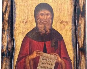 Saint St. Anthony - Orthodox Byzantine icon on wood handmade (22.5cm x 17cm)