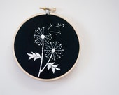 Hand Embroidered Black and White Dandelion Hoop Art