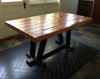 Strip Craftsman Wood Dining Table from Reclaimed Wood