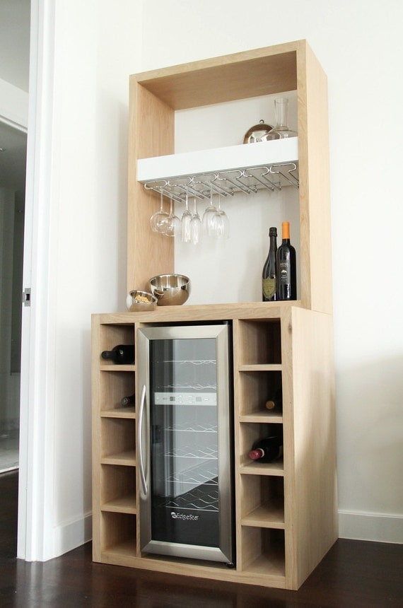 White Oak Bar with built in wine cooler and glass rack : il570xN520608353nb3o from www.etsy.com size 570 x 860 jpeg 72kB