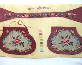 Vintage Royal Paris Purse Petit Point Canvas DIY 1940s