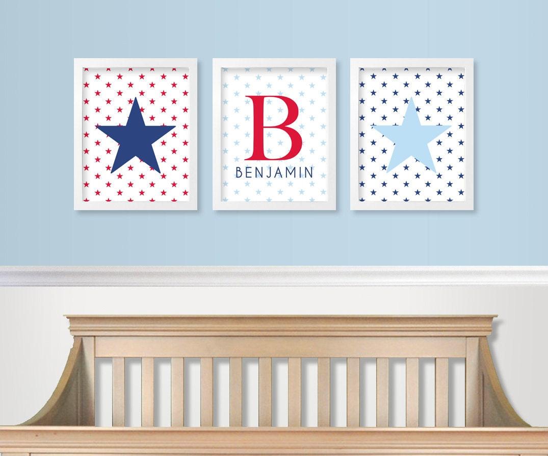 Baby Monogram Wall Decor Red White And Blue Nursery Decor Military Baby Nursery