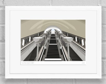 Clapham South Stairs, London - Limited Edition Giclée Art Poster/Print