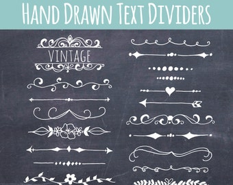 CLIP ART: Chalkboard Text Dividers // Plus Photoshop Brushes // Hand Drawn Vintage // Ribbon Foliage Leaves // Vector // Commercial Use