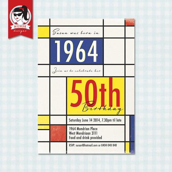 50th Birthday Party Invitations Retro 60s By NunskDesigns