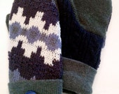 Cashmere Lined Upcycled Felted Wool Mittens
