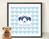 Baby Shower/ New Baby Boy Guestbook Elephants - Hearts 12 x 12 Print  -Nursery Decor- Baby Shower  Decoration- Nursery Elephants Print