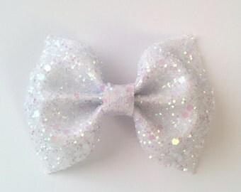 Mini White Glitter Bow / White Glitter Bow / Glitter Fabric Bow / Headband / Sparkly Hair Clip / Bow Hair Clip