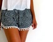 Pom Pom Shorts - Navy and White dot pattern with White Pom Pom Trim - lightweight chiffon