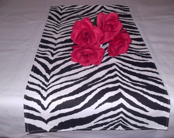 Handmade Table Runner 13W x 36L in Black/White Zebra Print, Home Decor