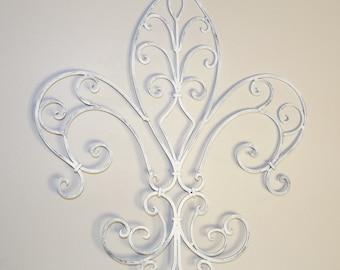 Fleur de Lis Wrought Iron Wall Decor, French Country, Home Decor, Housewares, Indoor/Outdoor Decor, Wall Decor, Shabby Chic Decor