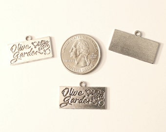 Antique Silver Olive Garden Charms 4 QTY