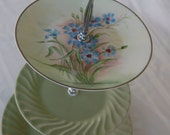 Handpainted Blue Floral and Sage Green Tea Stand/CakeStand/Serving Tray, Beautiful spring colors for any special occasion(182E)