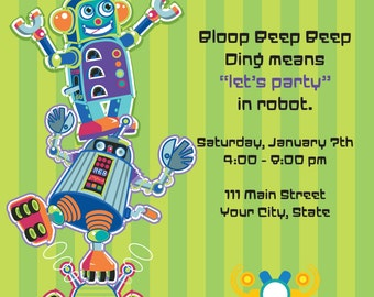 Robot Party Invitation