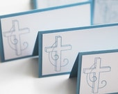 Elegant Cross Place Cards, Baptism or Communion Place Cards, Cross Food Tents