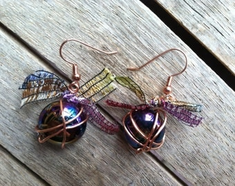 Copper Wire Wrapped Marble Earrings ER-080514-03