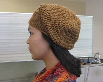 Crochet Slouchy Beanie - Milk Chocolate Brown