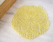 Crochet doily in yellow, lace flower placemat, crochet table top, summer decor, pentagon, cotton table decoration