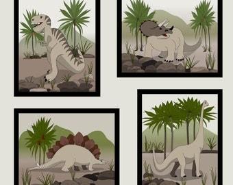 """Canvas Dinosaur Wall Decor, 4 -8""""X10"""", Children's Wall Art"""