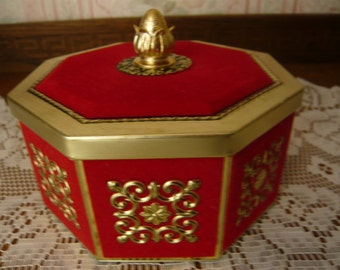 Octagon Shaped Red Velvet and Brass Tin