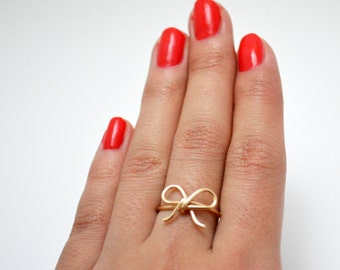 Gold Bow Tie Ring