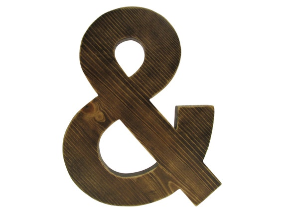 Black Ampersand Wall Decor : Ampersand rustic wall decor kona brown stainwood sign