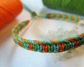 Green Orange Turquoise Bracelet Handmade Friendship/Surf Macrame Bracelet