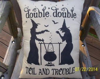 Double Double Toil And Trouble Stencil Primitive Witchs Pillow