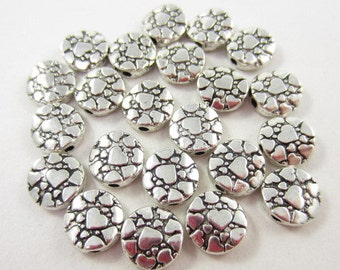 22pcs 10mm Round Hearts Silver Plated Beads (F1106)