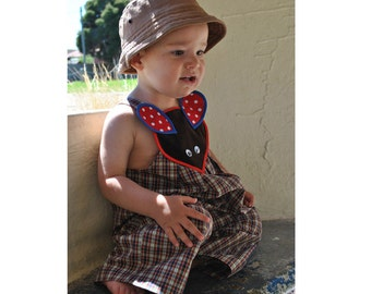 Romper sewing pattern Little Brown Mouse Overalls PDF sewing pattern, children's romper pattern size 9 months to 4 years