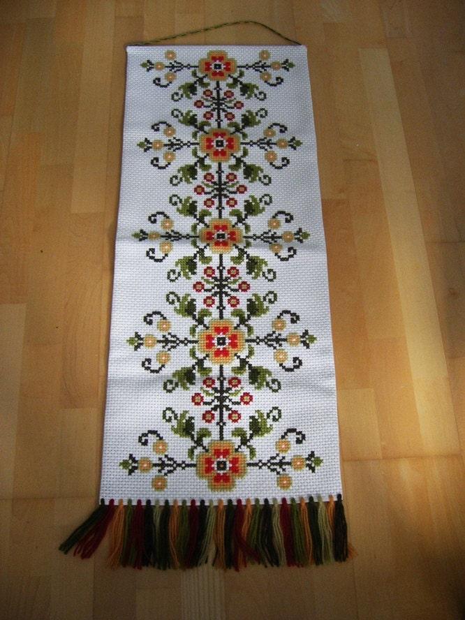 Wall Decor Cross Stitch : Folk vintage swedish cross stitch wall embroidery art