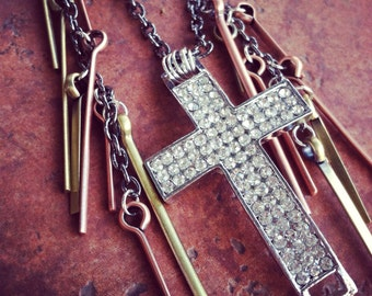 Crystal Cross Asymetrical Necklace with copper, brass and silver tones