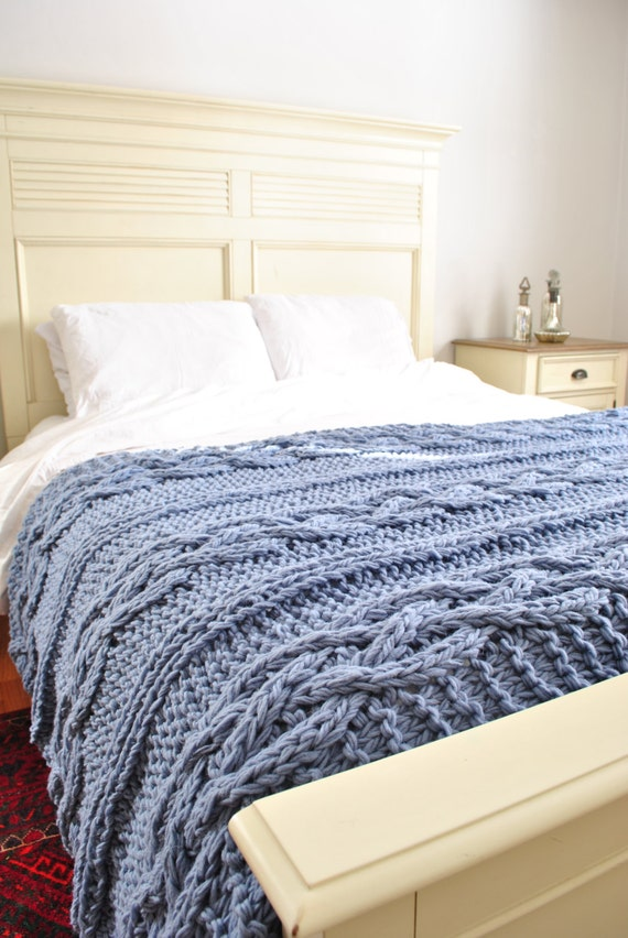 Chunky Cable Knit Blanket in light blue Cabled by CampKitschyKnits