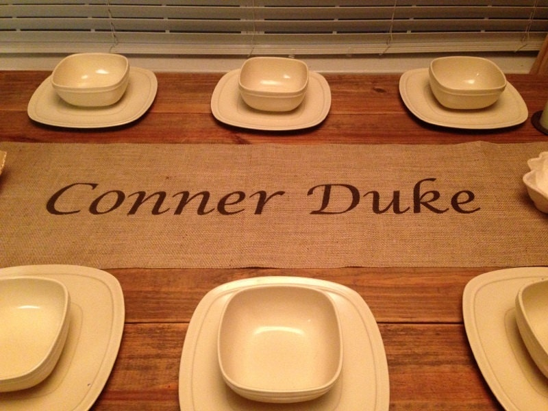 Table 16 custom overhang or 18  Burlap Runner by wide runner CreativePlaces table with