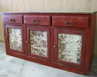 Buffet / Sideboard / Cabinet / Great Storage for Kitchen or Dining Room / Shown in Barn Red