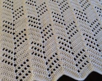 SALE - Cream Crocheted Baby Blanket
