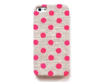 FABRIC - Neon dot iPhone 5s case, Pink dot iPhone 6 case, Cute iPhone 5C case, Bright samsung galaxy case