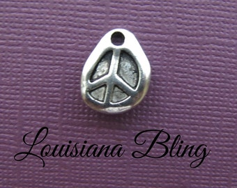 12 Pieces Rustic Peace Sign Pendant Charm, Wax seal peace charm 15x11mm Double Sided Antique Silver Finish 2-31-S