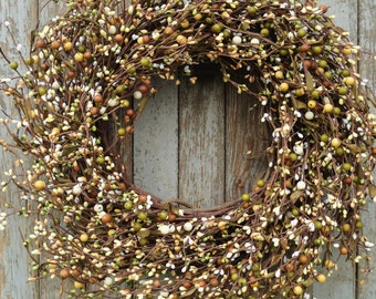 Olive and Mustard Pip Berry Wreath--Fall Pip Berry Wreath--Earth Tone Berry Wreath--Autumn Wreath--Primitive Wreath
