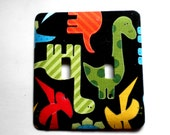 Wall Decor Double Light Switch Plate Switchplate in Dinosaur Nursery Print