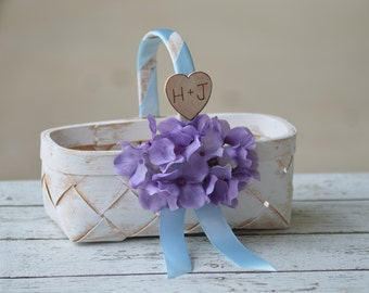 personalized rustic flower girl basket farm wedding B102