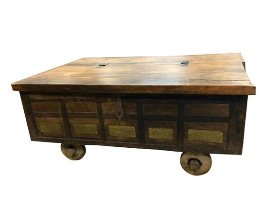 Antique Rustic Chest On Wheels Coffee Table Hand By Mogulgallery