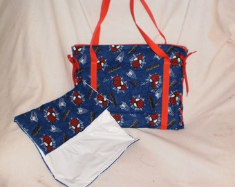 spiderman diaper bag with matching changing pad