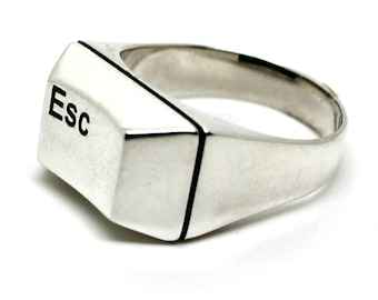 Silver Statement Ring with a Computer Key Esc