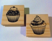 2 Cupcake Rubber Stamps for Crafting