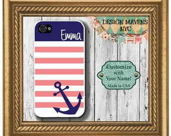 Preppy Anchor iPhone Case, Personalized iPhone Case, Nautical iPhone Case, iPhone 4, iPhone 4s, iPhone 5,  iPhone 5s, iPhone 5c, iPhone 6