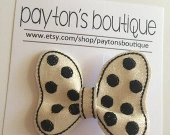 White with Black Polka Dot Glitter Classic Mouse Bow Boutique Clip