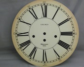 Vintage Wall Clock Face, Large Westminster Enamel Clockface, Enamel Dial, Clock Parts