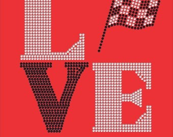 Love Square Racing Rhinestone Transfer, Nascar, Checkered Flag